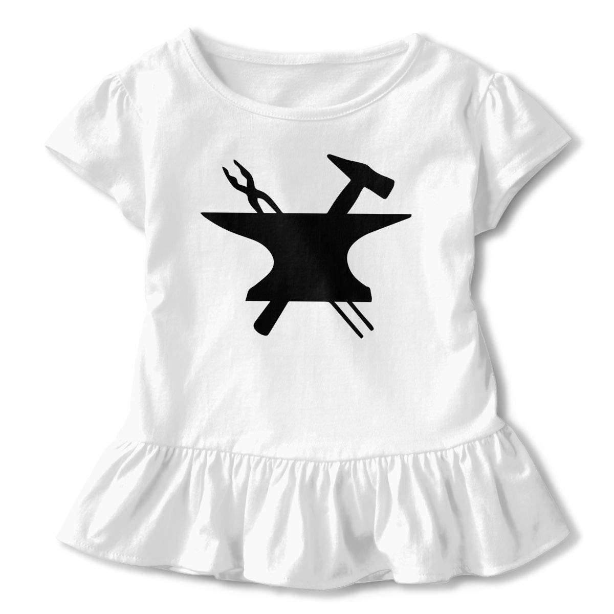 HYBDX9T Toddler Baby Girl Blacksmith Clipart Funny Short Sleeve Cotton T Shirts Basic Tops Tee Clothes