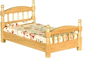 Melody Jane Dollhouse Light Oak Single Bed Wooden Miniature 1:12 Scale Bedroom Furniture