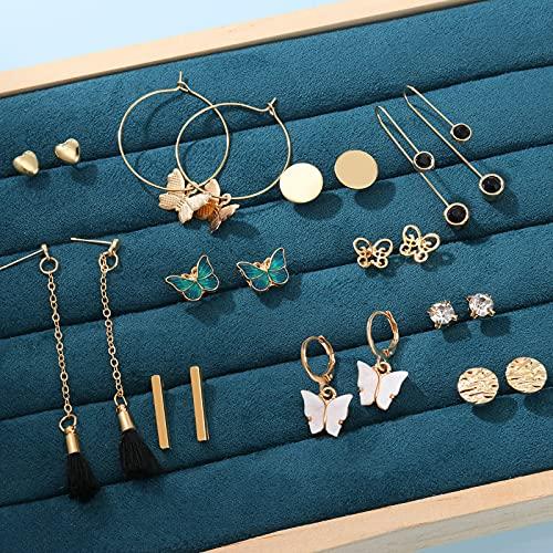 CHANBO 11 Pairs Boho Style Long Tassel Gold Pendant Earrings Women's Retro Pearl Long Butterfly Earrings Heart-shaped Hoop Earrings