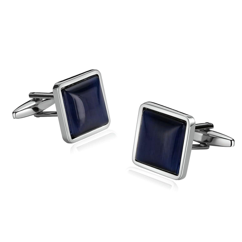 Aooaz Cufflink for Men Stainless Steel Cufflink Square Zirconia cz Cz Silver Blue 1.7X1.7CM Silver Blue CJ65CFLKMOD291EKU