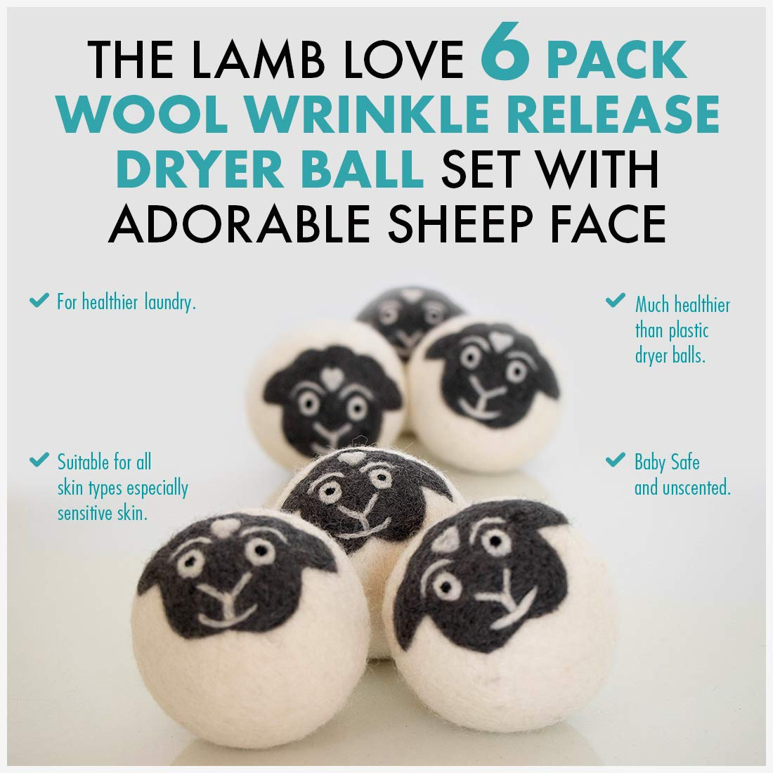 Wool Dryer Balls Laundry Lamb Natural Sheep Fabric Softener Organic Dryer Sheets Lint-Free Anti-Wrinkle Static-Free Reusable Dispenser Handmade, Eco-Friendly, Fair Trade Wrinkle Remover 6-Pack-XL