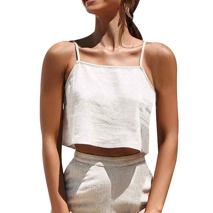 4818f06ee044 Igemy Simple Mujeres Camiseta de Tirantes Cremallera Slash Neck en ...
