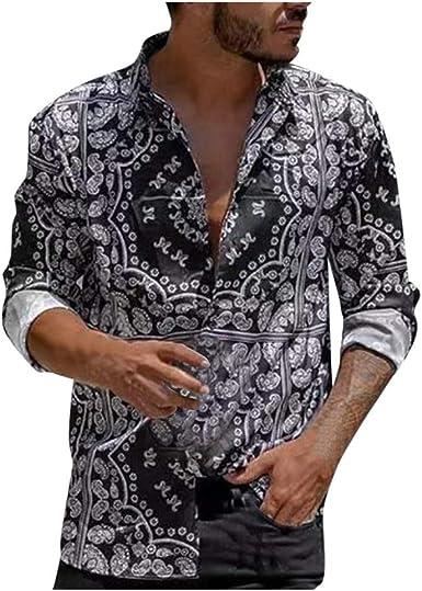 Camisas Casual para Hombre, Ocio Suelto Camisa de Manga Larga Estampada Slim fit Camiseta Solapa Blusa Primavera otoño cómodo Camisa Tendencia Retro Top de Manga Larga: Amazon.es: Ropa y accesorios
