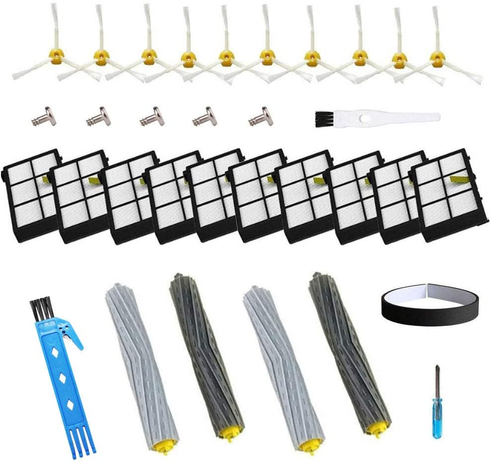 Theresa Hay Replacement Accessory Kit for iRobot Roomba 800 900 Series 890 860 880 870 980 960 Vacuum Accessories,with 2 Set Extractors 10 Filters 10 Side Brushes 5 Screws 1 Cleaning Tool (34pcs)