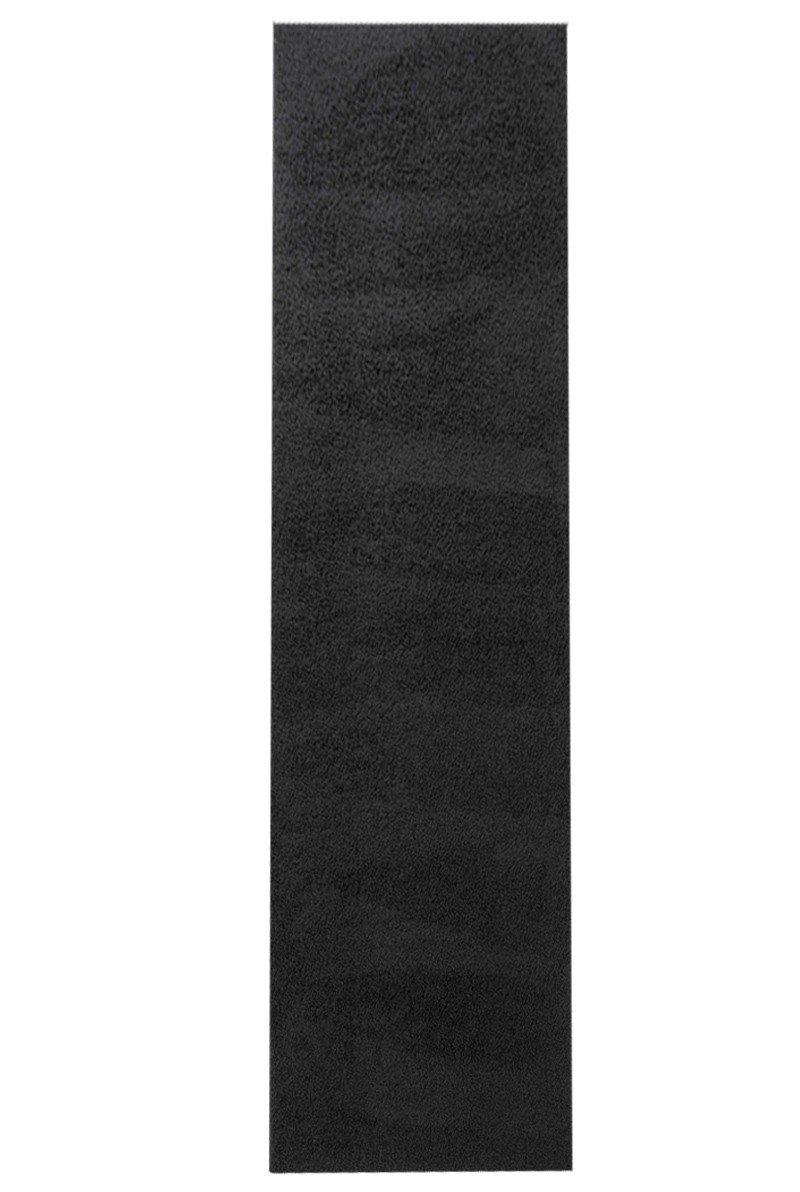 Havatex Hochflor Shaggy Teppich Pulpo Läufer - schadstoffgeprüf, pflegeleicht, robust & strapazierfähig   Brücke für Flur Diele Eingang Küche Schlafzimmer, Farbe Schwarz, Größe 100 x 600 cm
