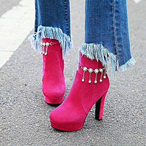 Mee Shoes Damen Plateau Nubukelder high heels Stiefel Rosarot