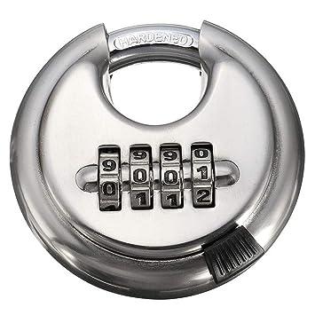 unidad de almacenamiento gimnasio y cerca Candado de disco de combinaci/ón de 4 d/ígitos con cerradura de plata de grillete de acero endurecido para cobertizos paquete de 2