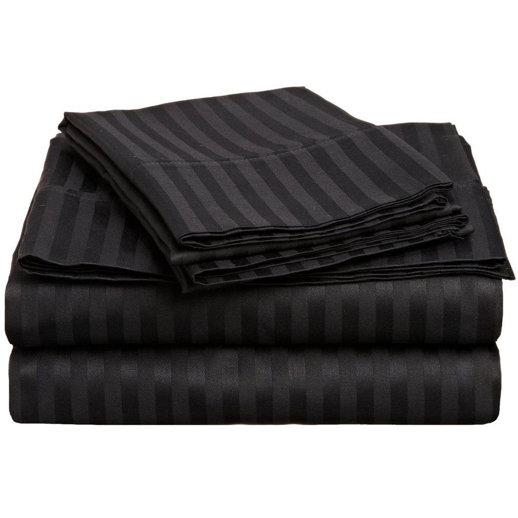 Superior 300 Thread Count 100% Premium Combed Cotton, 4-Piece Bed Sheet Set, Deep Pocket, Single Ply, Sateen Stripe, Split King - Black