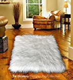 Shag Area Rug - White Luxury Fur Carpet - Soft Faux Fur Sheepskin - Rectangle Accent Rug - Fur Accents (5'x6')