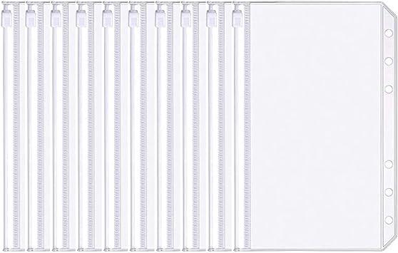Onwon 10 Pieces Binder Pocket A6 Size 6 Holes Translucent Binder Zipper Folders Waterproof Binder Loose Leaf Bags EVA Pouch Plastic Document Filing Bags for 6-Ring Notebook Binder Loose Leaf Bags