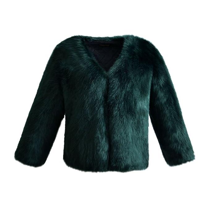 YuanDian Mujer Otoño Invierno Casual Color Sólido Corto Abrigos De Pelo Cuello V Suave Cálido Imitacion Piel Sintetica Elegante Outwear Chaquetas Verde ...