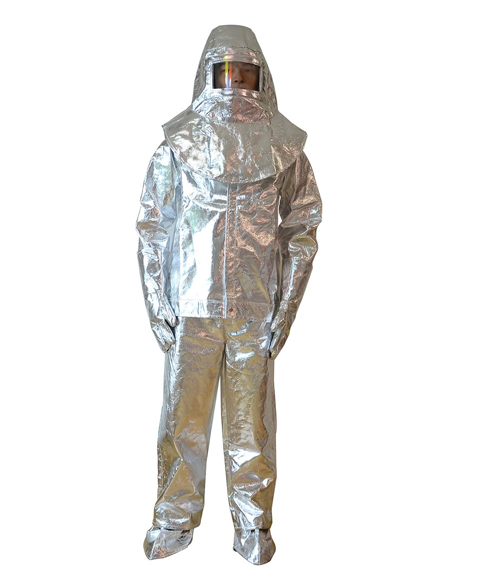 a2d1f419686 Aluminized Flame Resistant 500℃ Safety Fire Work Suit Fire Resistant  Coverall Heat Protective Clothing