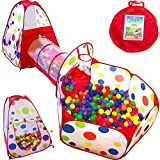 Playz 3pc Kids Play Tent Crawl Tunnel and Ball Pit Popup Bounce Playhouse Tent with Basketball Hoop for Indoor and Outdoor Use with Red Carrying Case