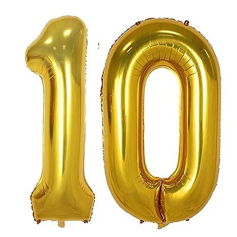 Amazon.com: Lámina de oro de 40 inch 10 globos de helio ...