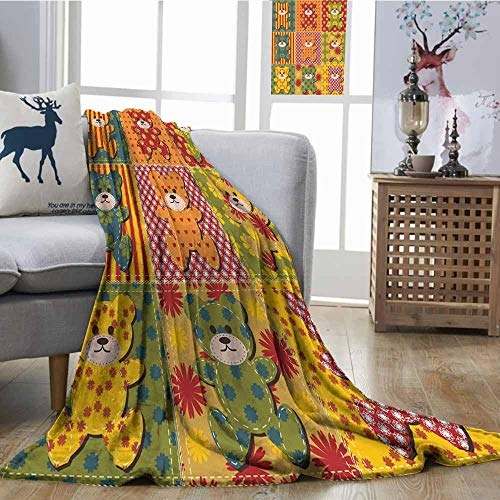 (SONGDAYONE Reversible Blanket Colorful Kids Room Pattern with Patchwork Style Teddy Bears Cute Funny Childish Plush Throw Blanket W54 xL72 Multicolor )