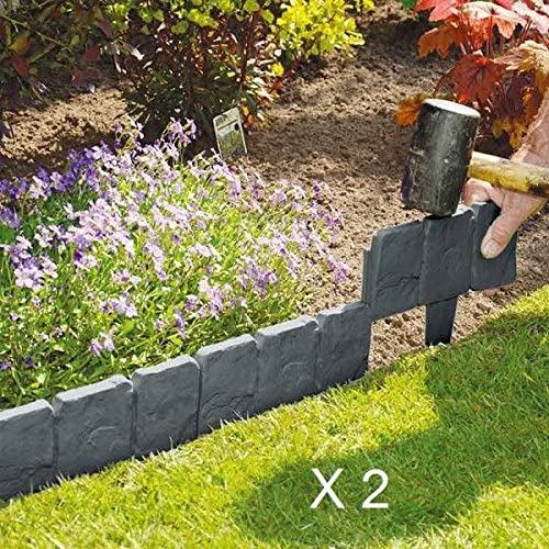 EliteZotec® 20 Piezas de plástico Cobbled Gris Oscuro Efecto Piedra para Jardín Borde Planta Césped: Amazon.es: Jardín