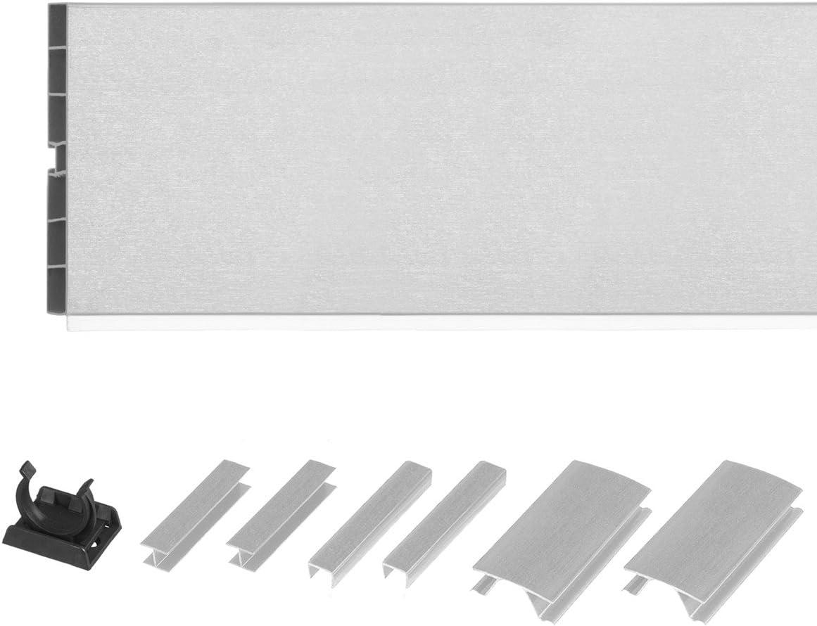 HOLZBRINK Zócalo para Cocina de Módulos, 150 cm Altura 150 mm aluminio cepillado - HBK15