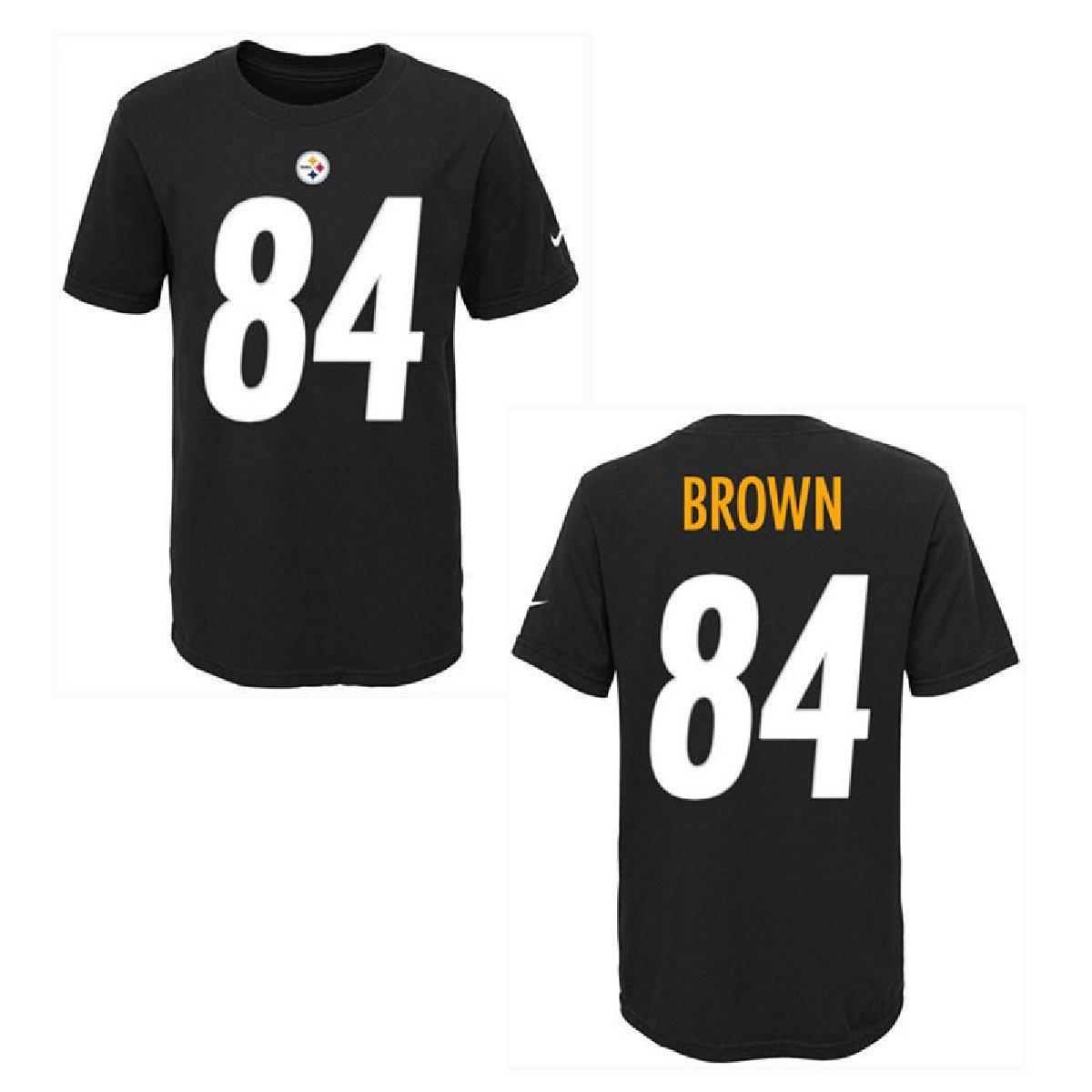 e8d39e1c Amazon.com : NIKE Pittsburgh Steelers Antonio Brown Black Youth Player  Pride Tee2 T-Shirt : Sports & Outdoors