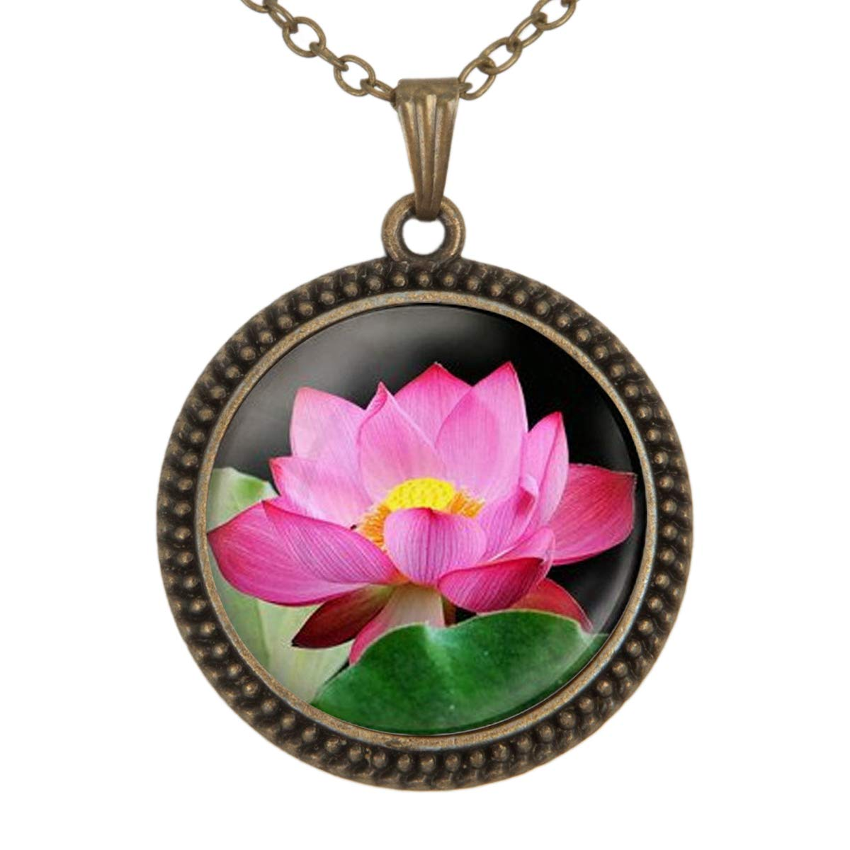 Family Decor Lotus Art Pendant Necklace Cabochon Glass Vintage Bronze Chain Necklace Jewelry Handmade