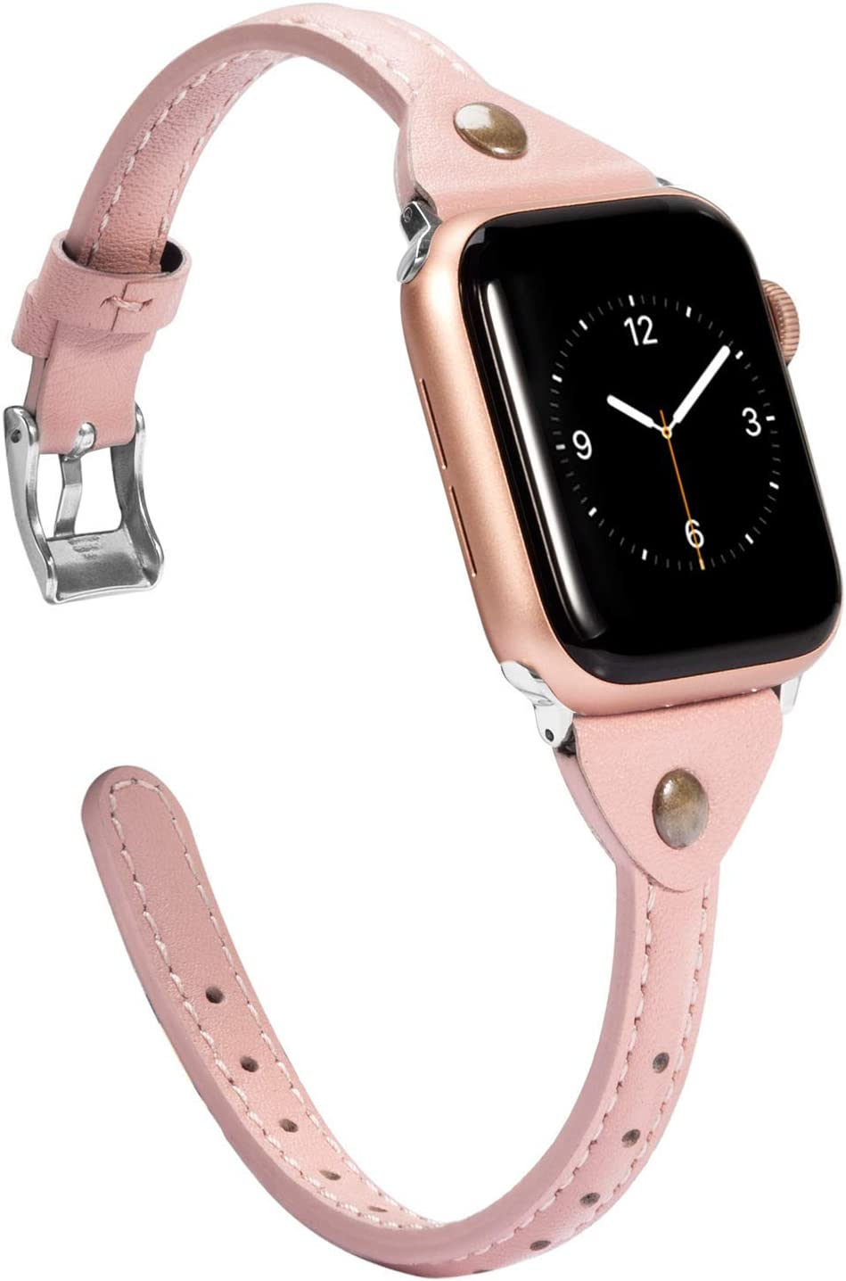 Wearlizer Womens Pink Slim Leather Compatible with Apple Watch Bands 38mm 40mm for iWatch SE Strap Wristbands Leisure Cute Unique Dressy Bracelet (Metal Silver Clasp) Series 6 5 4 3 2 1 Sports