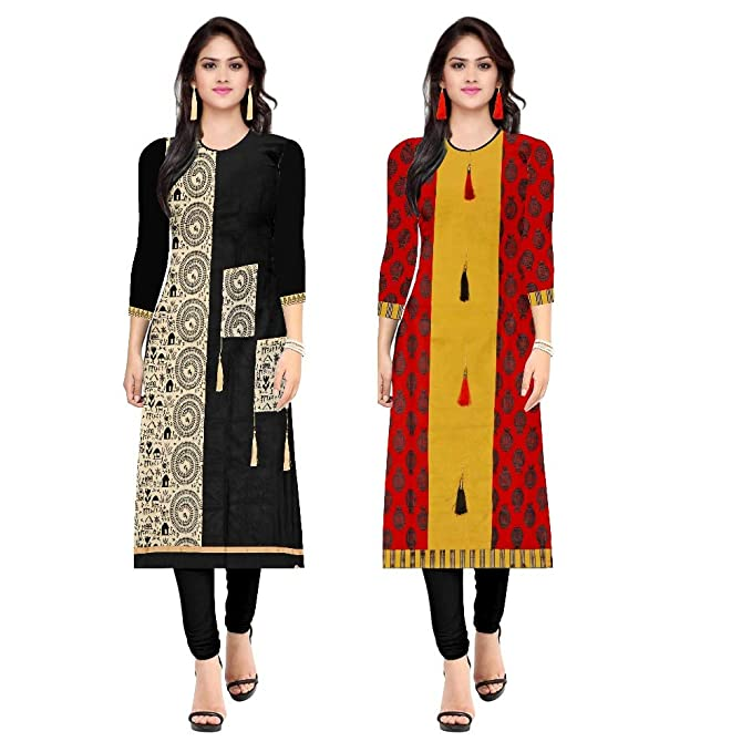 a8702b4b03ab Pramukh Fashion Women's Cotton Semi-Stitched Kurtis Combo (Multicolour,  Free Size) - Pack of 2: Amazon.in: Clothing & Accessories