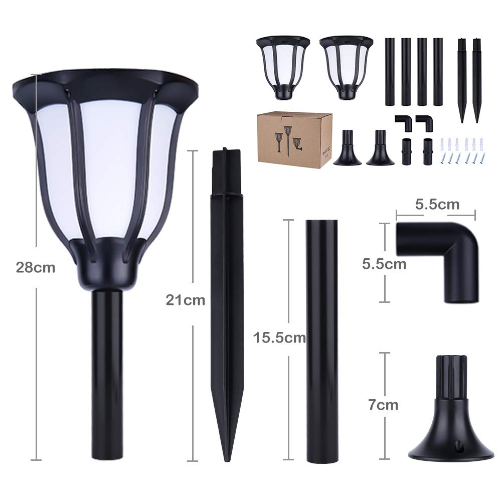 Solar Torch Flame Landscape Lights, ARINO 96LED 35Lumens Outdoor Solar Lights Waterproof Flickering Flames Effect Torches Lights for Garden Patio Deck Driveway Christmas Landscape Decoration, 2 Pack