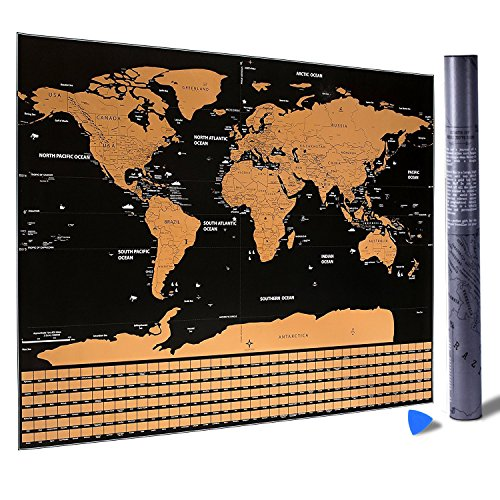 World Scratch Off Deluxe Edition Travel Map Poster and Scratcher International Countries, U.S. States, Global Continents | Personal Memory Keeper | School, Home Adventure and Travelers Map Wall Décor