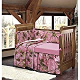 Pink Camo Crib Bedding Set for Girls, Cute Camouflage Hunting Themed Baby Nursery Collection, Leafy Oak Prints Forest Trees, Beautiful Design, Stylish & Pretty Reviews