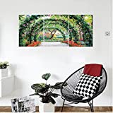 Liguo88 Custom canvas Country Home Decor Wall Hanging Flower Arches with Pathway in Ornamental Plants Garden Greenery Romantic Picture Bedroom Living Room Decor Green Red