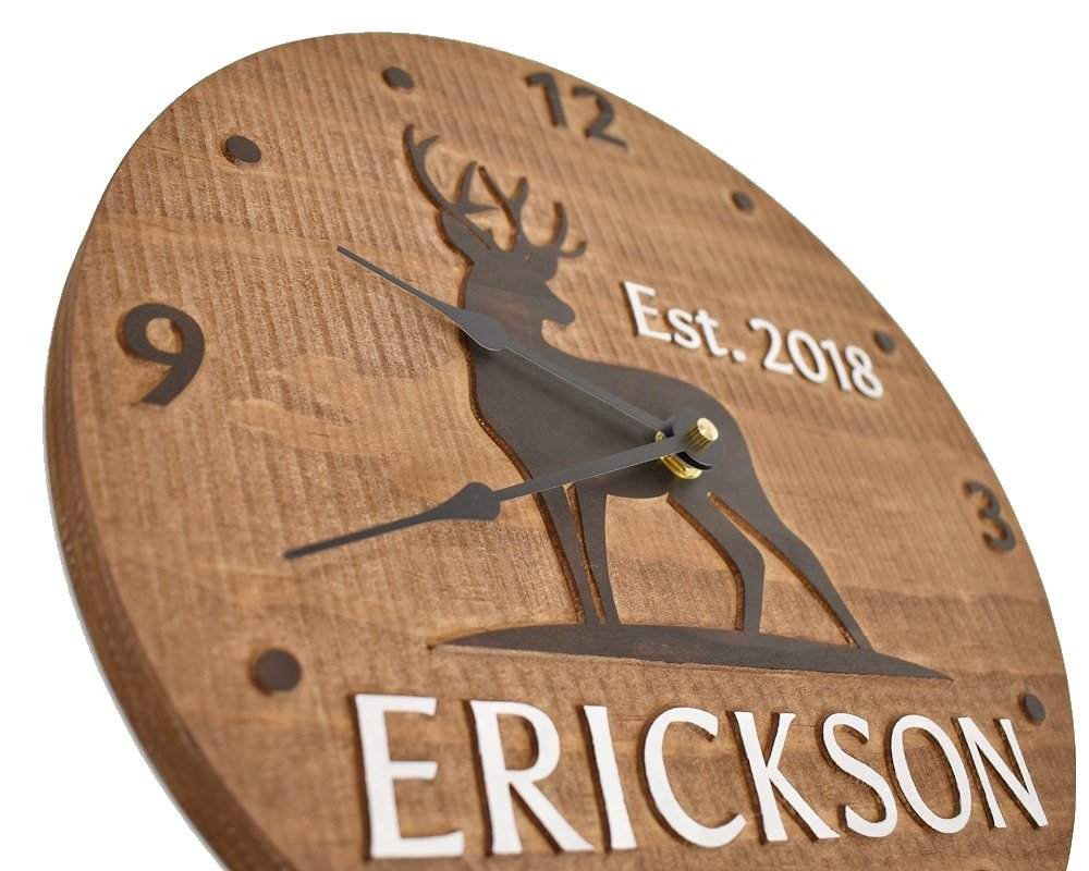 Personalized deer clock Hunting cabin decor 5th anniversary gift