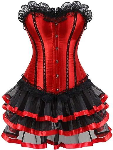 Vestido de Mujer, Dragon868 Mujeres Burlesque corsé con Mini Falda ...