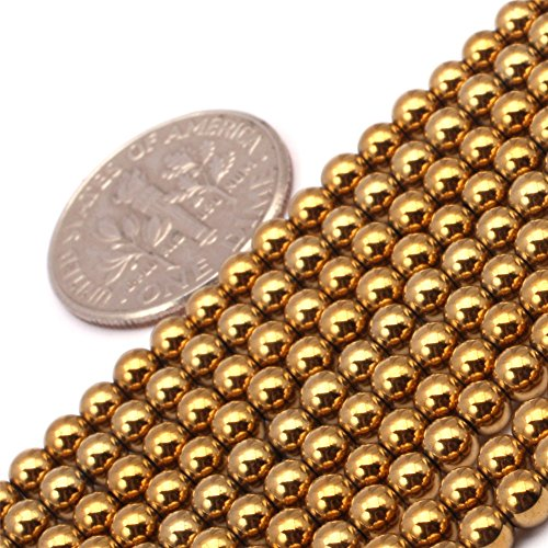 (GEM-insid 3mm Round Gold Color Hematite Beads Strand 15 Inches For Jewelry Making bracelets Necklace)