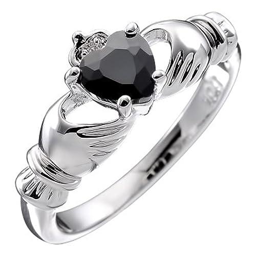 HYPM Jewellery Bañado en oro blanco de 10Q, Claddagh irlandés Negro azabache 4 Juego prong