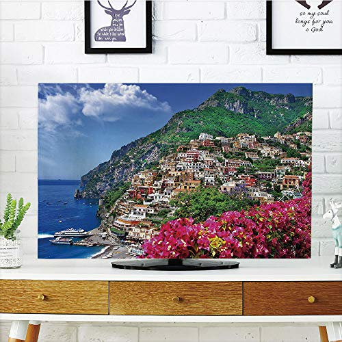 Sofa Amalfi (iPrint LCD TV Cover Multi Style,Italy,Scenic View of Positano Amalfi Naples Blooming Flowers Coastal Village Image,Pink Green Blue,Customizable Design Compatible 60