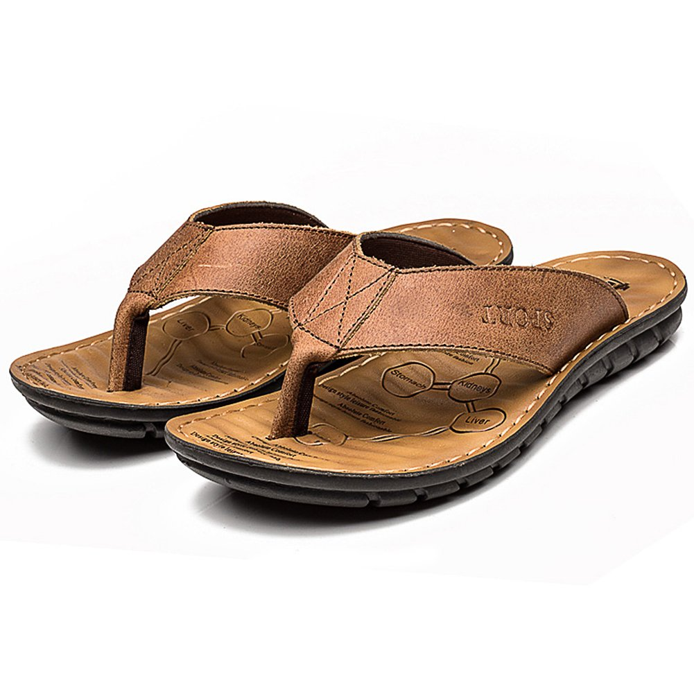 INFLATION Men's Comfortable Leather Flip Flop Sandals Anti-Slip Summer Outdoor Beach Slippers