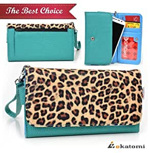 LEOPARD & BLUE GREEN   LG Splendor US730 Phone Case   Universal Women's Wallet Clutch. Bonus Ekatomi Screen Cleaner