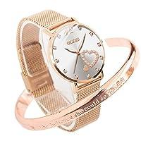Ladies Watches Rose Gold Stainless Steel Mesh Strap Diamond Fashion Dress Japanese Quartz Waterproof Luminous Love Bracelet Sets