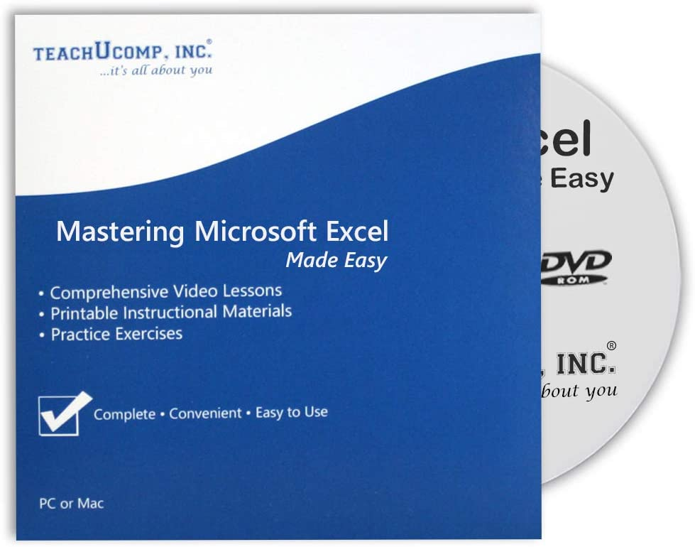 Microsoft Excel 2019 DVD-ROM Training Tutorial Course- Video Lessons, Printable Instruction Manual, Quizzes, Final Exam and Certificate of Completion