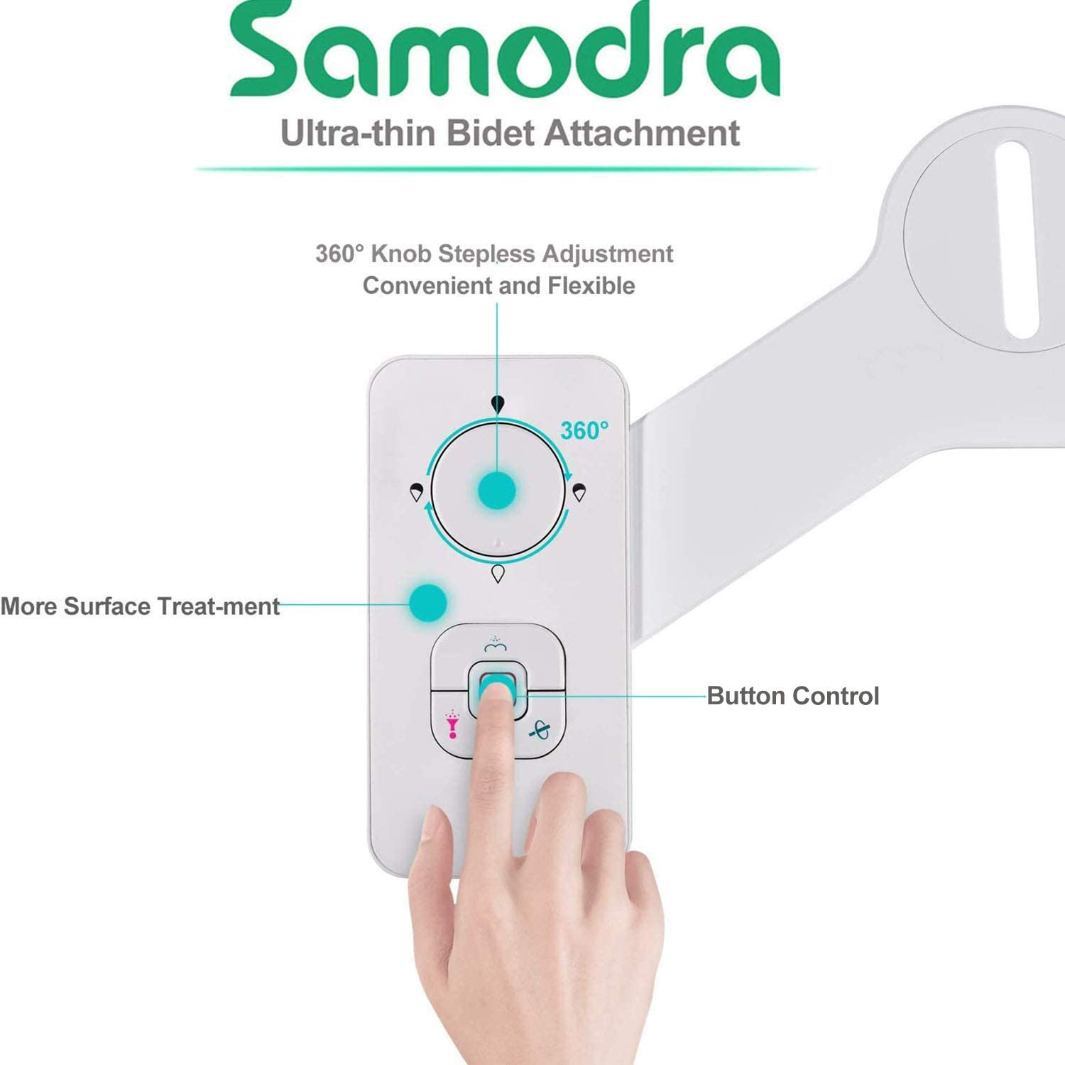 Black SAMODRA Non-electric Bidet Toilet Seat Attachment with Retractable Self-cleaning Dual Nozzles Bidet Attachment Adjustable Pressure Switch for Cold Water Frontal /& Rear Wash