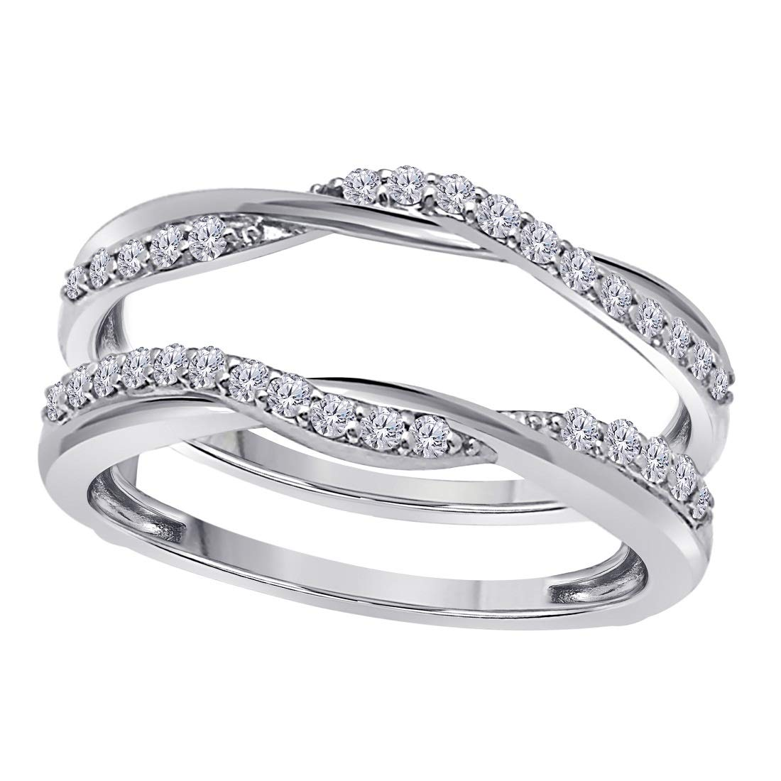 Sterling Silver Delicate Bypass Infinity Style Vintage Wedding Ring Guard Enhancer with CZ Simulated Diamond by Celebrityinspired jewelry