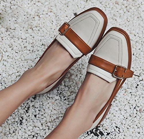 escogen EU36 boca zapatos de y baja otoño los bajo de CN36 Sra zapatos gruesos con cuadrada la UK4 tacón La zapatos cabeza primavera de US6 nWaUfxB