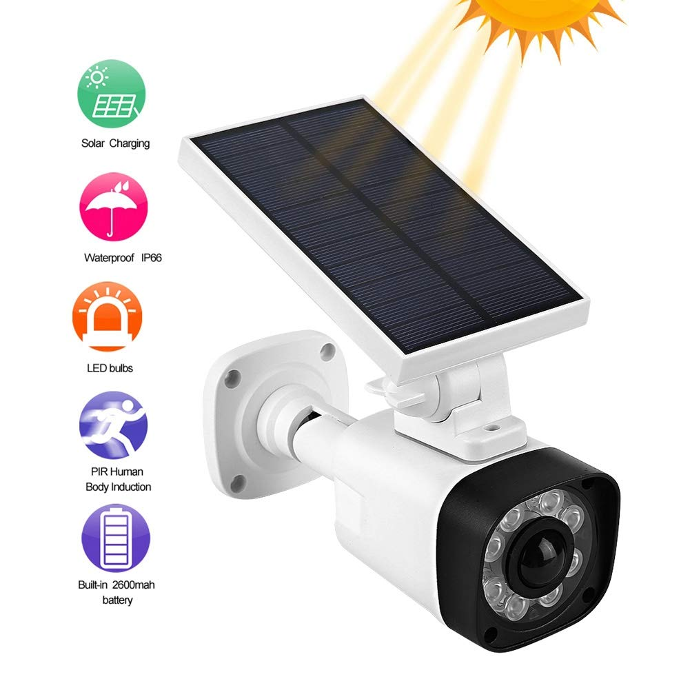 Outdoor Solar Powered Security Camera, Garden Wall Simulation Camera Home LED Monitor, Waterproof IP66, Night Vision, Detection, Dummy Fake Monitor for Outdoor and Indoor. by Hakeeta