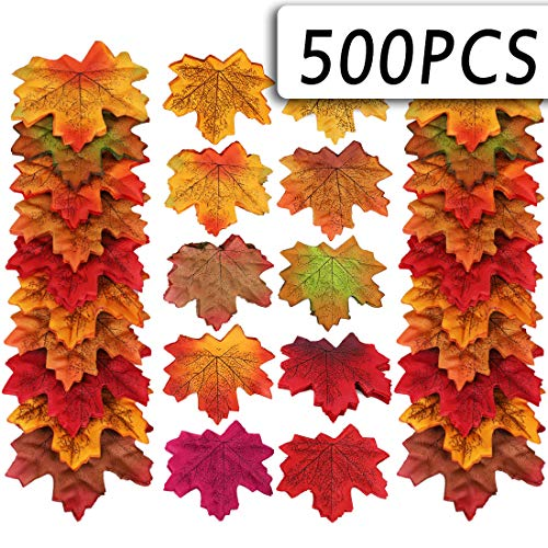 Lansian 10 Color Fall Artificial Maple Leaves Decoration Thanksgiving Autumn Leaf Wedding Party Table Decoration (500 PCS)