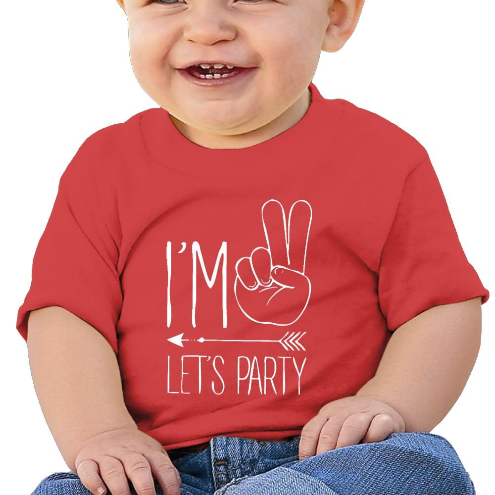 Chengrangst I'm Two Let's Party Hipster Arrow 2nd Bir Toddler/Infant Short Sleeve Cotton T Shirts Pink
