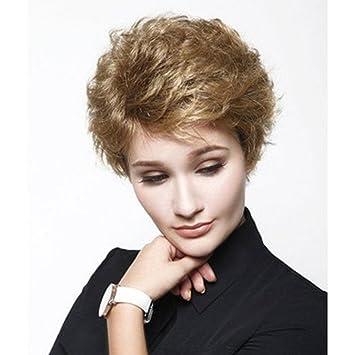SHKY Individualidad Rubio Corto Rizado Ondulado Pelucas de pelo completo Fluffy Peluca de alta calidad para