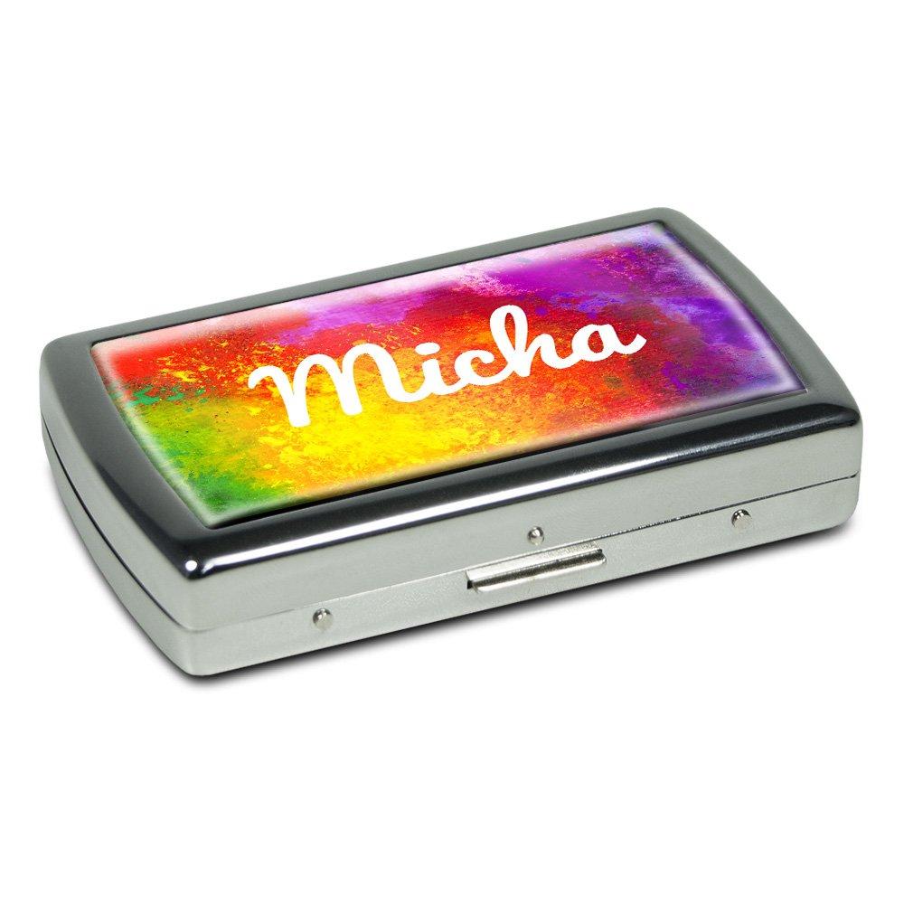Zigarettenetui mit Namen Micha - Edle Chrom-Metallbox mit Design Color Paint - Zigarettenbox, Zigarettenschachtel, Metallbox