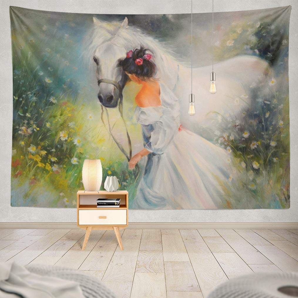 threetothree 80x60 Inches Tapestry Wall Hanging Interior Decorative Oil Painting Girl with Horse Scenery Modern Art Gallery Artist Artwork for Bedroom Living Room Tablecloth Dorm
