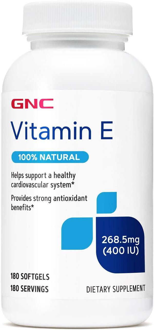 GNC Vitamin E 400IU, 180 Softgels, Supports Healthy Cardiovascular System