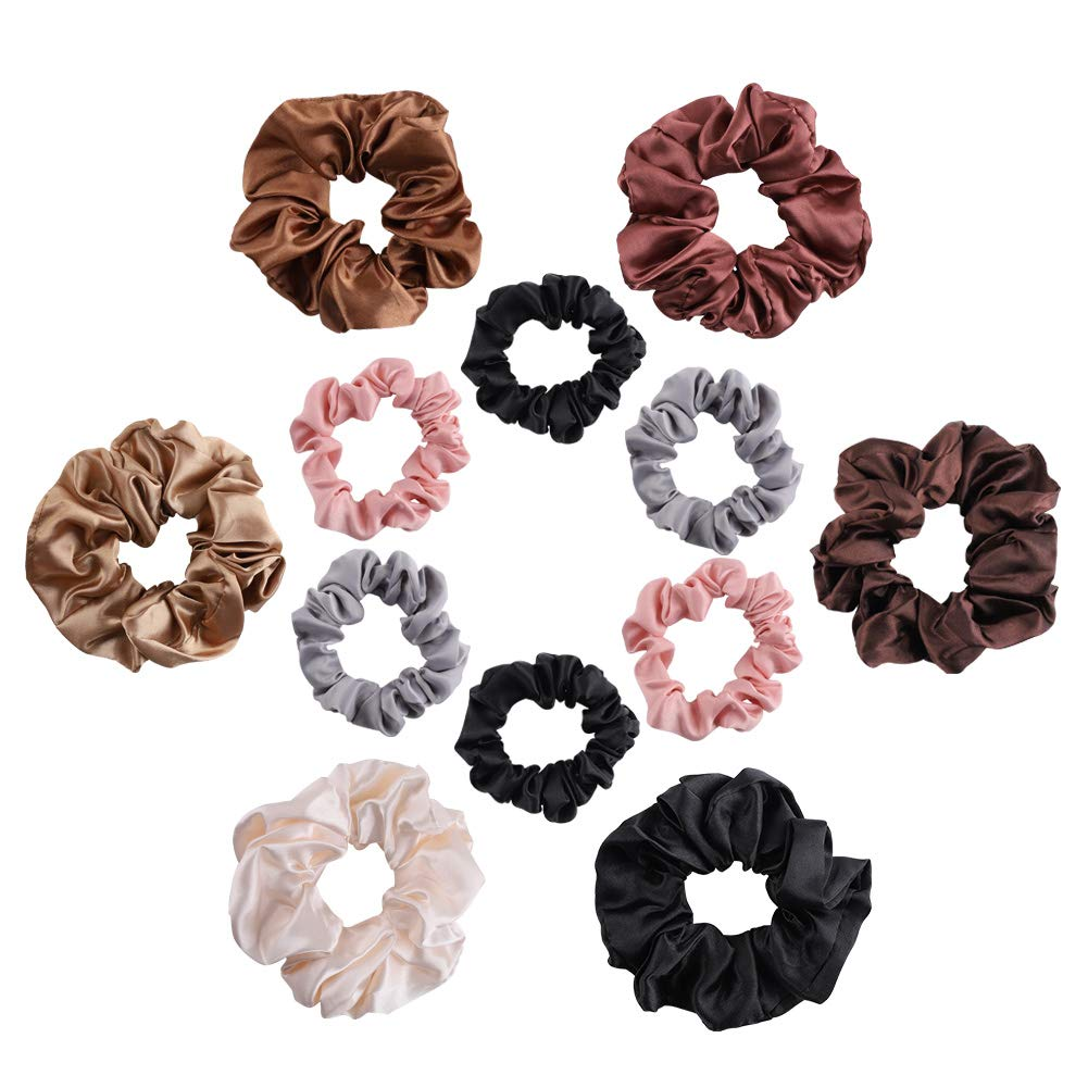 6Pcs Elastic Hair Bands Silk Satin Scrunchie Hair Ties Ponytail Holder Ropes Set