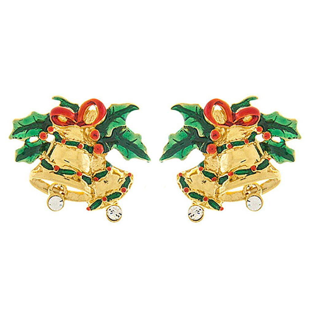 ACCESSORIESFOREVER Christmas Jewelry Crystal Rhinestone Jingle Bell Fashion Earrings E1155 Gold